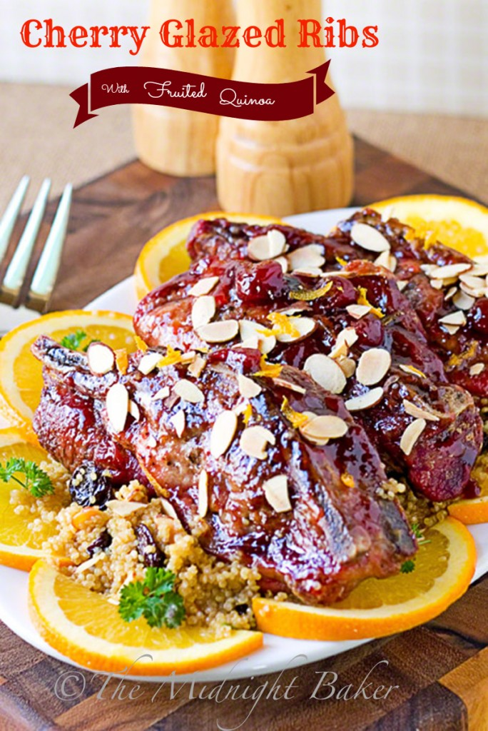 Cherry Glazed Ribs with Fruited Quinoa   bakeatmidnite.com   #pork #quinoa