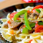 A pasta primavera with peppers and sausage. Delicious and economical.