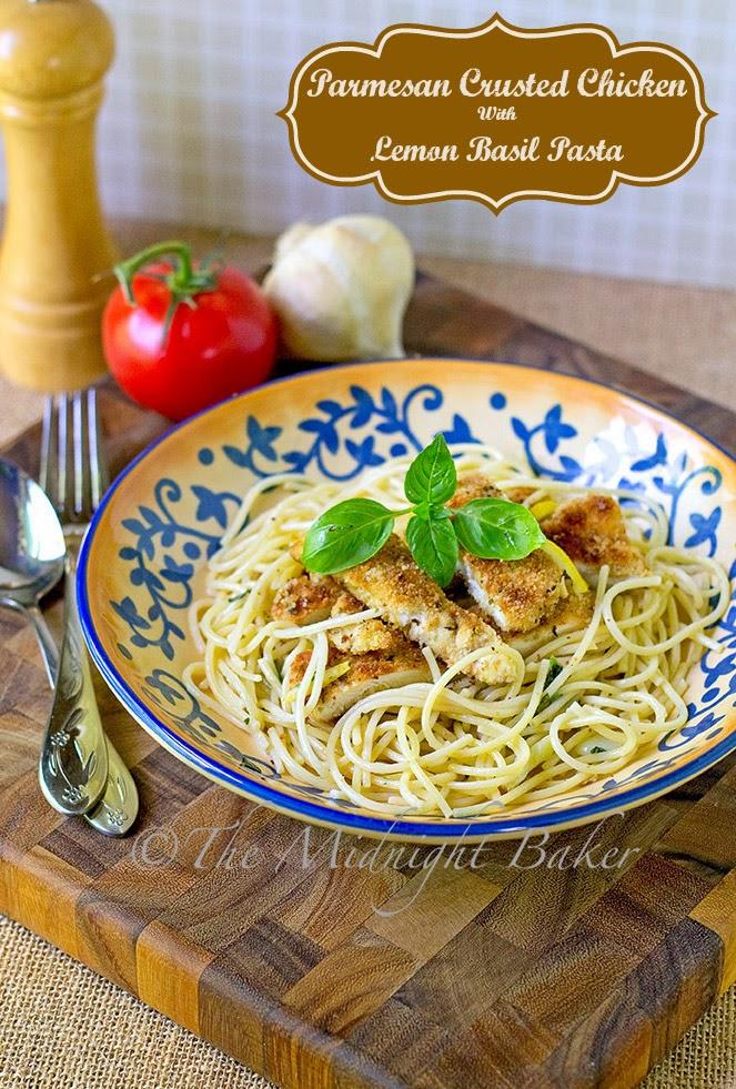 Parnesan Crusted Chicken with Lemon Basil Pasta #ParmesanChicken