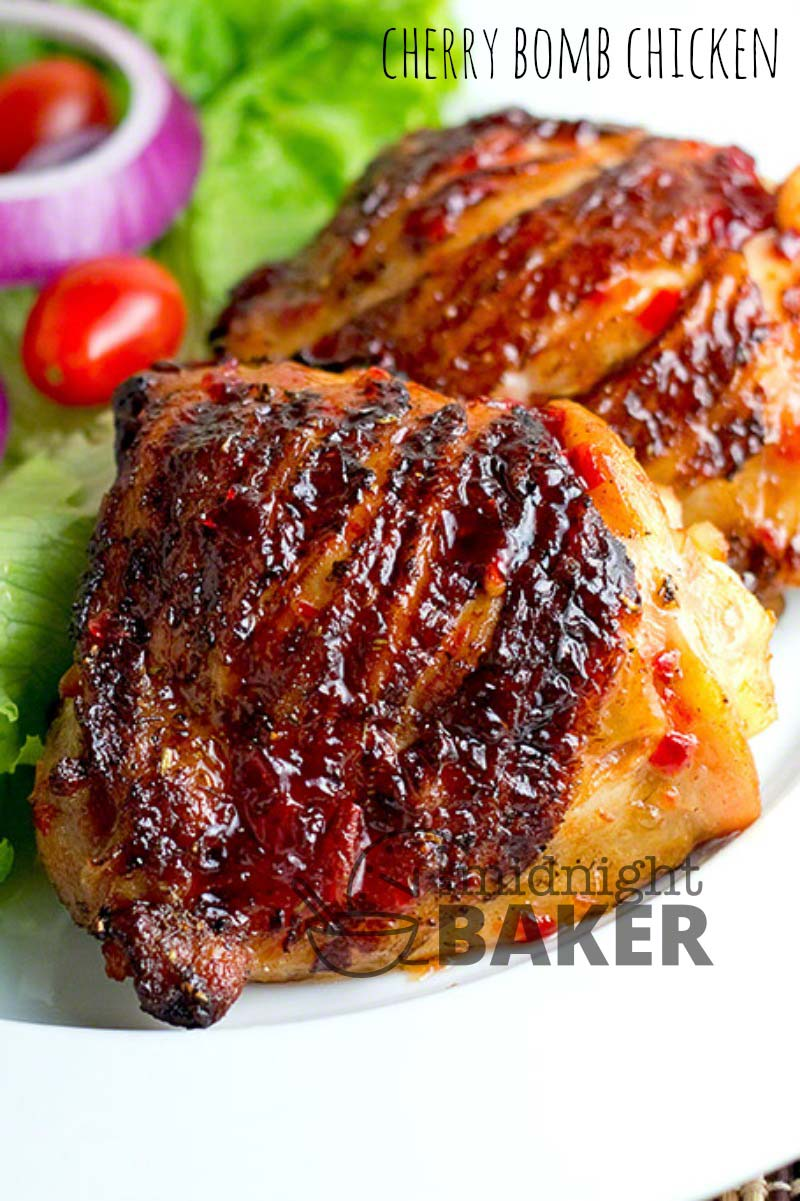 """Delicious chicken marinated in a """"cherry bomb"""" marinade."""