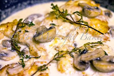 Cooking Mushroom Asiago Chicken in Gastrolux Saute Pan