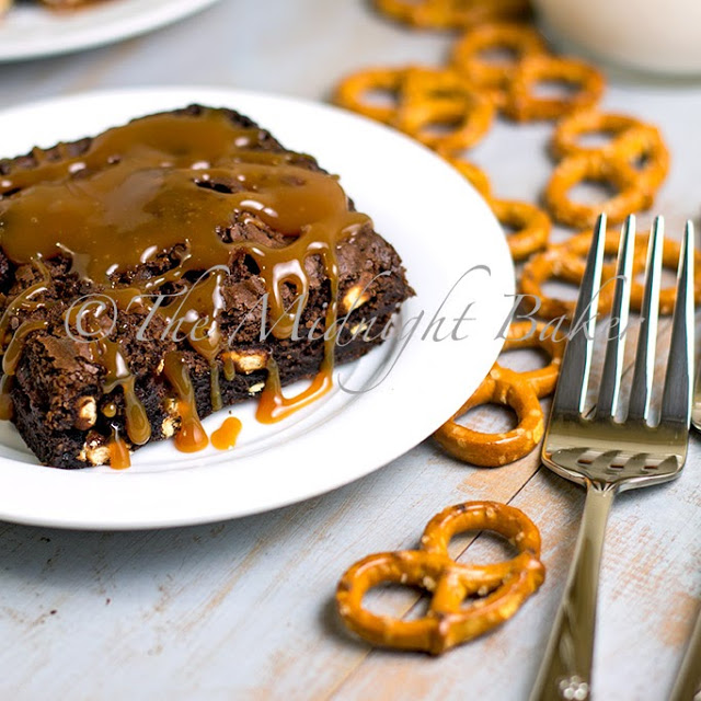 Pretzel Brownies with Caramel Sauce