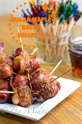 Sugar Maple Bacon Smokeys (Bacon Wrapped Cocktail Franks) | bakeatmidnite.com | #appetizers #bacon