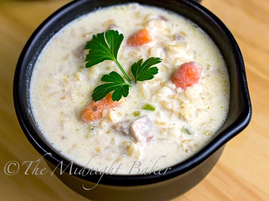 Cream of Turkey & Brown Rice Soup #CreamSoup #CreamOfChickenSoup