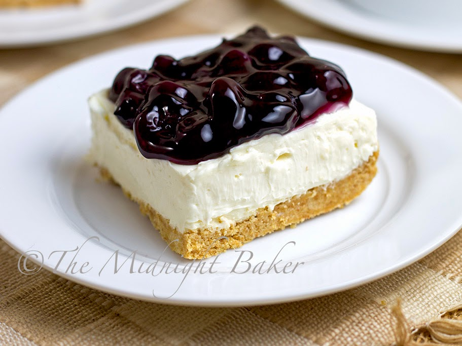 No-Bake Blueberry Cheesecake Bars - The Midnight Baker