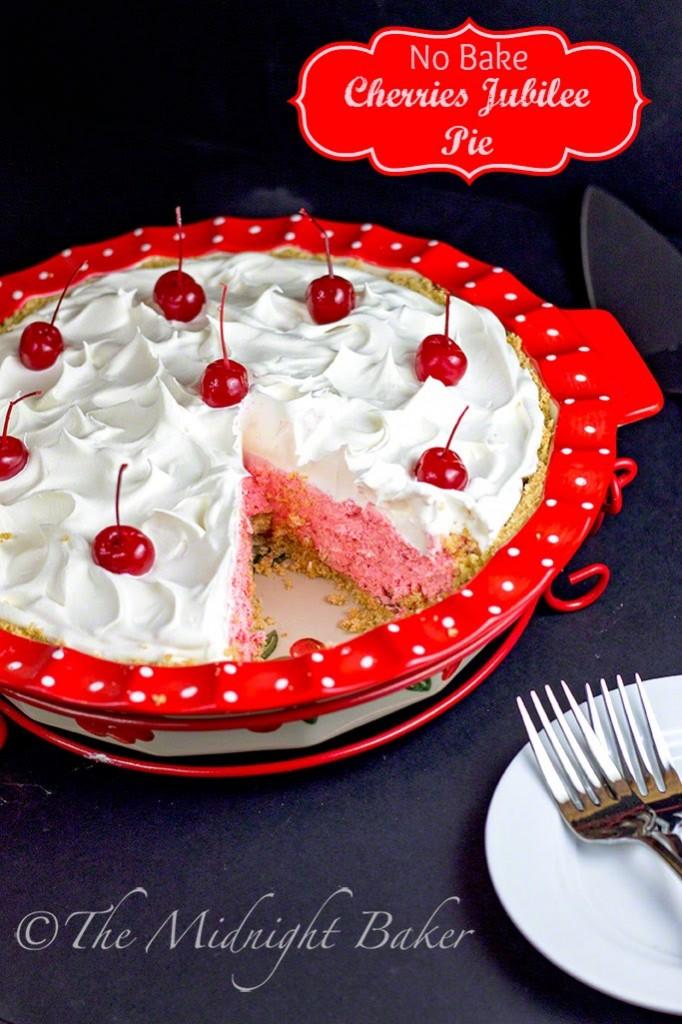 No Bake Cherries Jubilee Pie |bakeatmidnite.com | #NoBakePies #CherryPie #ChiffonPie #NoBakeCherryPie #TemptationsByTara