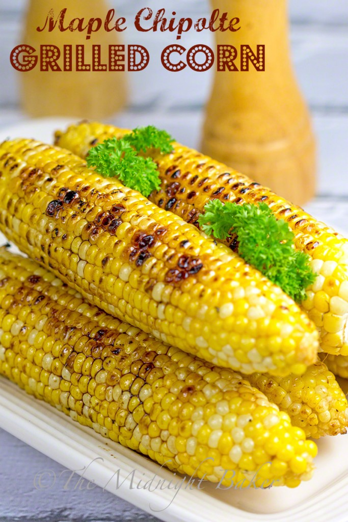 Maple Chipotle Grilled Corn #BBQ #corn #grilledvegetables #chipotles