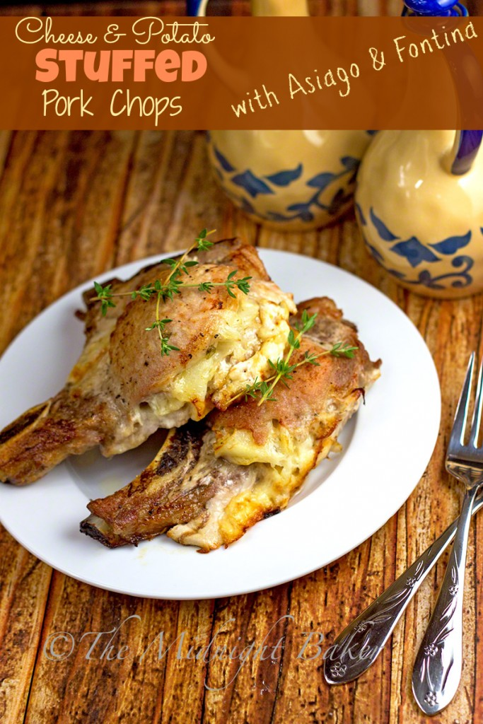 Cheese & Potato Stuffed Pork Chops | bakeatmidnite.com | #porkchops #slowcooker #cheesestuffedporkchops