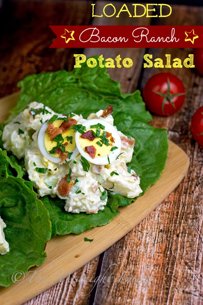 Loaded Bacon Ranch Potato Salad | bakeatmidnite.com | #potatosalad #salads #summersalads