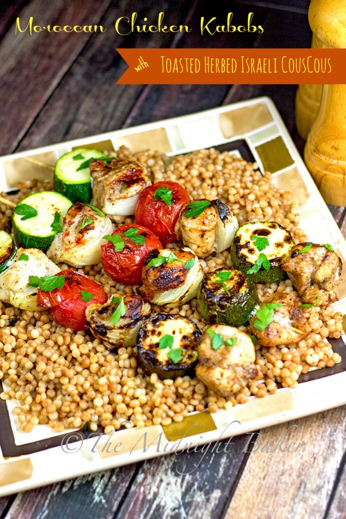 Moroccan Chicken Kabobs with Toasted Herbed Israeli Couscous | bakeatmidnite.com | #middleeasternfood #moroccanchicken #kabobs #couscous