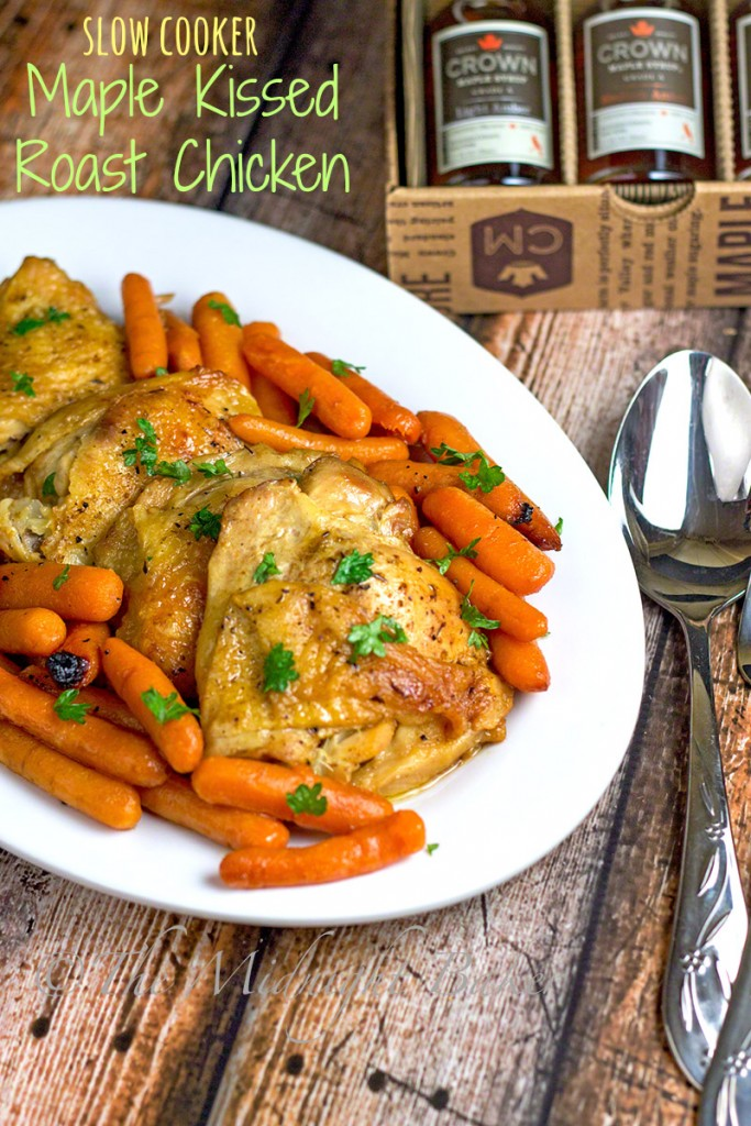 Slow Cooker Maple Kissed Roast Chicken | bakeatmidnite.com | #slowcooker #crockpot #chicken #crownmaple