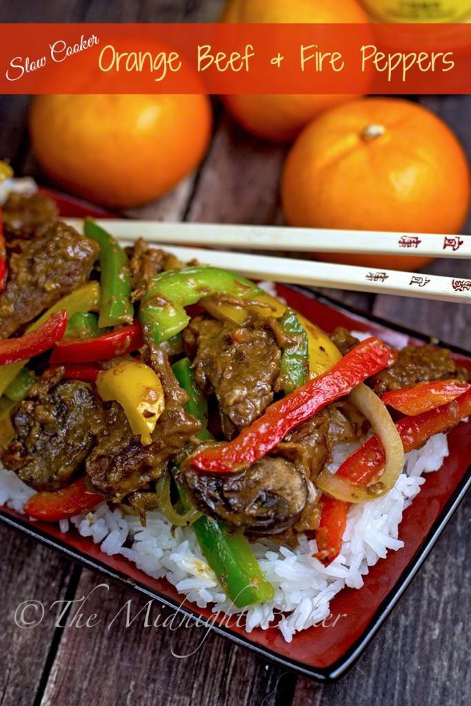 Slow Cooker Orange Beef & Fire Peppers #slow cooker #crockpot #pressurecooker #orangebeef #peppersteak