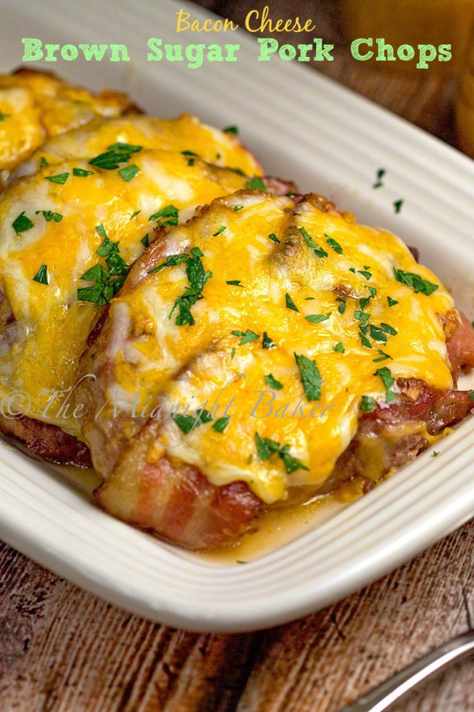 Bacon Cheese Brown Sugar Pork Chops | bakeatmidnite.com | #porkchops #bacon #cheese