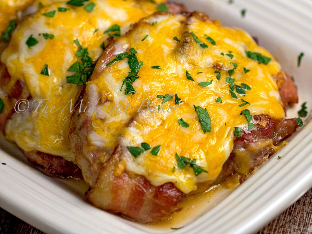 Bacon Cheese Brown Sugar Pork Chops | bakeatmidnite.com | #porkchops #bacon #cheese