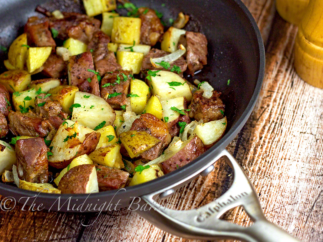 One-Skillet Roasted Steak & Potatoes - The Midnight Baker