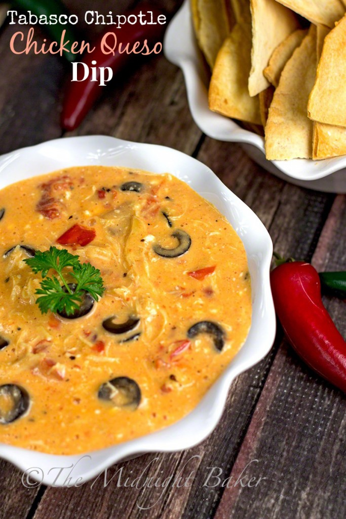 Tabasco Chipotle Chicken Queso Dip | bakeatmidnite.com | #SeasonedGreetings #quesodip #ad