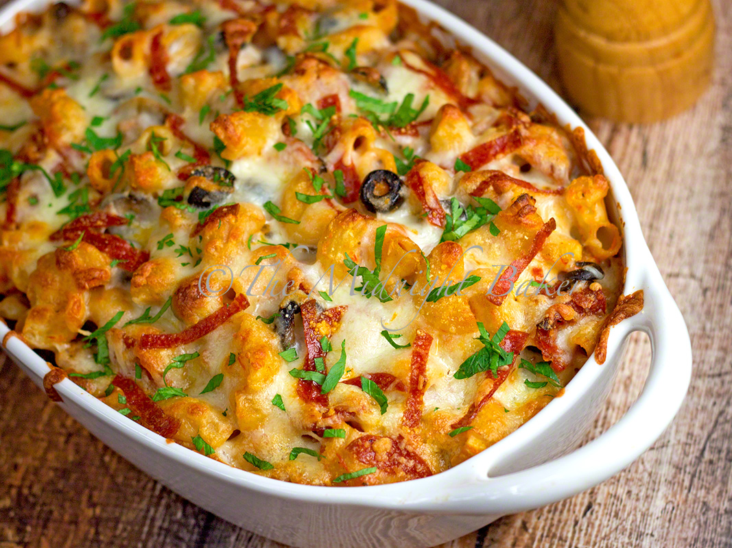 loaded pizza pasta casserole the midnight baker