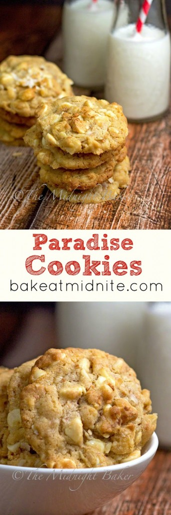 Paradise Cookies | bakeatmidnite.com | #cookierecipes #coconut #macadamianuts #whitechocolate