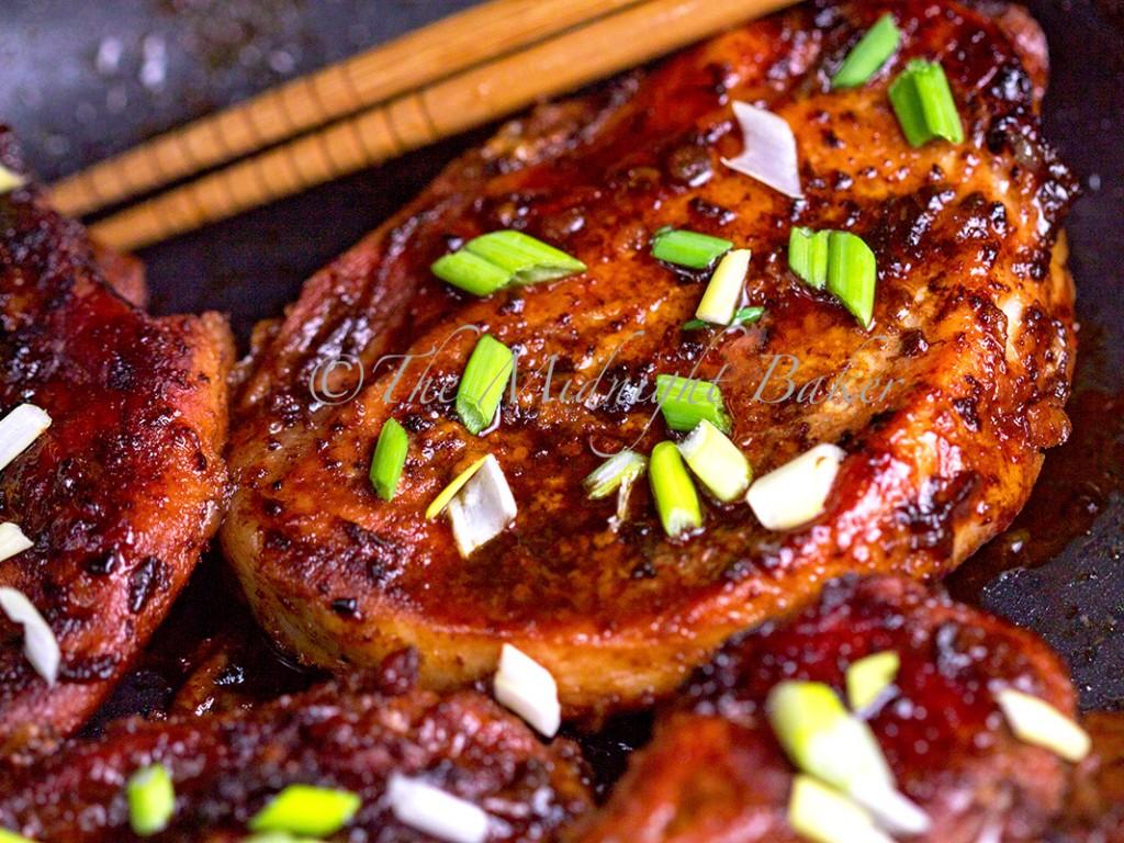 Slow Roast Pork Chops | bakeatmidnite.com | #pork #recipe #sriracha