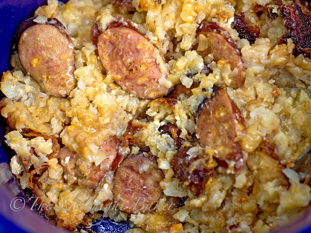 Crock Pot Cheesy Taters & Sausage | bakeatmidnite.com | #slowcooker #crockpot #potatoes #sausage #recipe