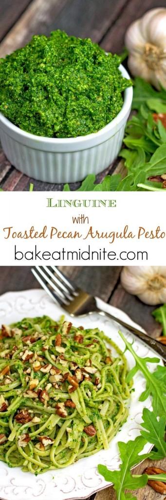 Linguine with Toasted Pecan Arugula Pesto | bakeatmidnite.com | #pesto #pasta #arugula