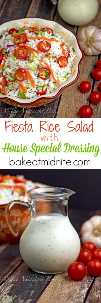 Fiesta Rice Salad with House Special Dressing | bakeatmidnite.com | #rice #salad #dressing