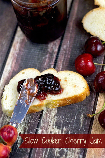 Slow Cooker Cherry Jam   bakeatmidnite.com   #slowcooker #crockpot #jam #jelly