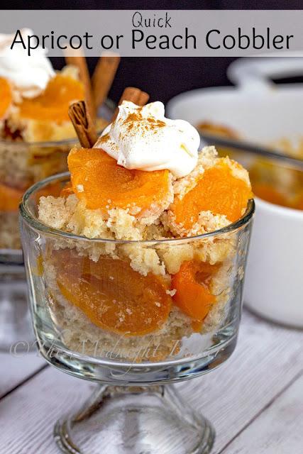 Quick Apricot or Peach Cobbler | bakeatmidnite.com | #fruitcobbler #cannedfruit #dessert