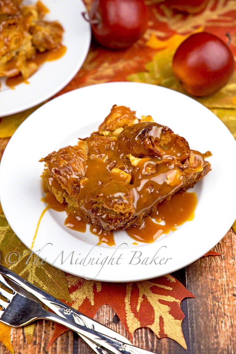 Caramel Apple Croissant Bread Pudding - The Midnight Baker