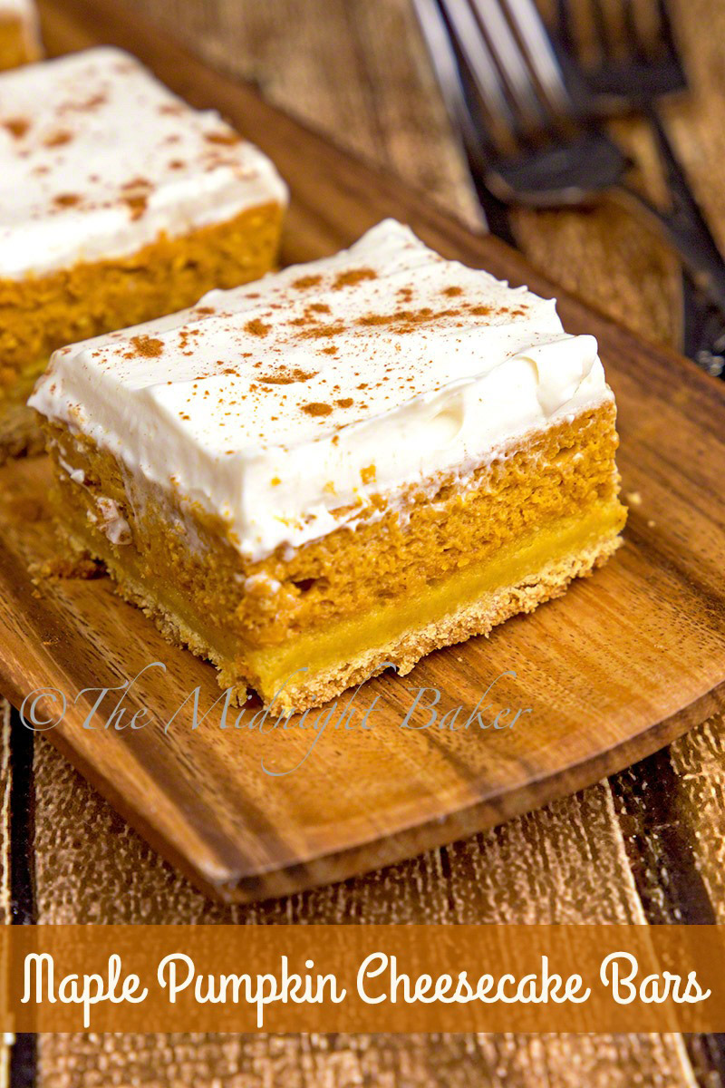Maple Pumpkin Cheesecake Bars The Midnight Baker