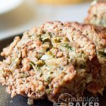 Pinwheel meatloaf was one of my mom's special dinners. It's delicious ground beef rolled up with a savory soft bread stuffing.