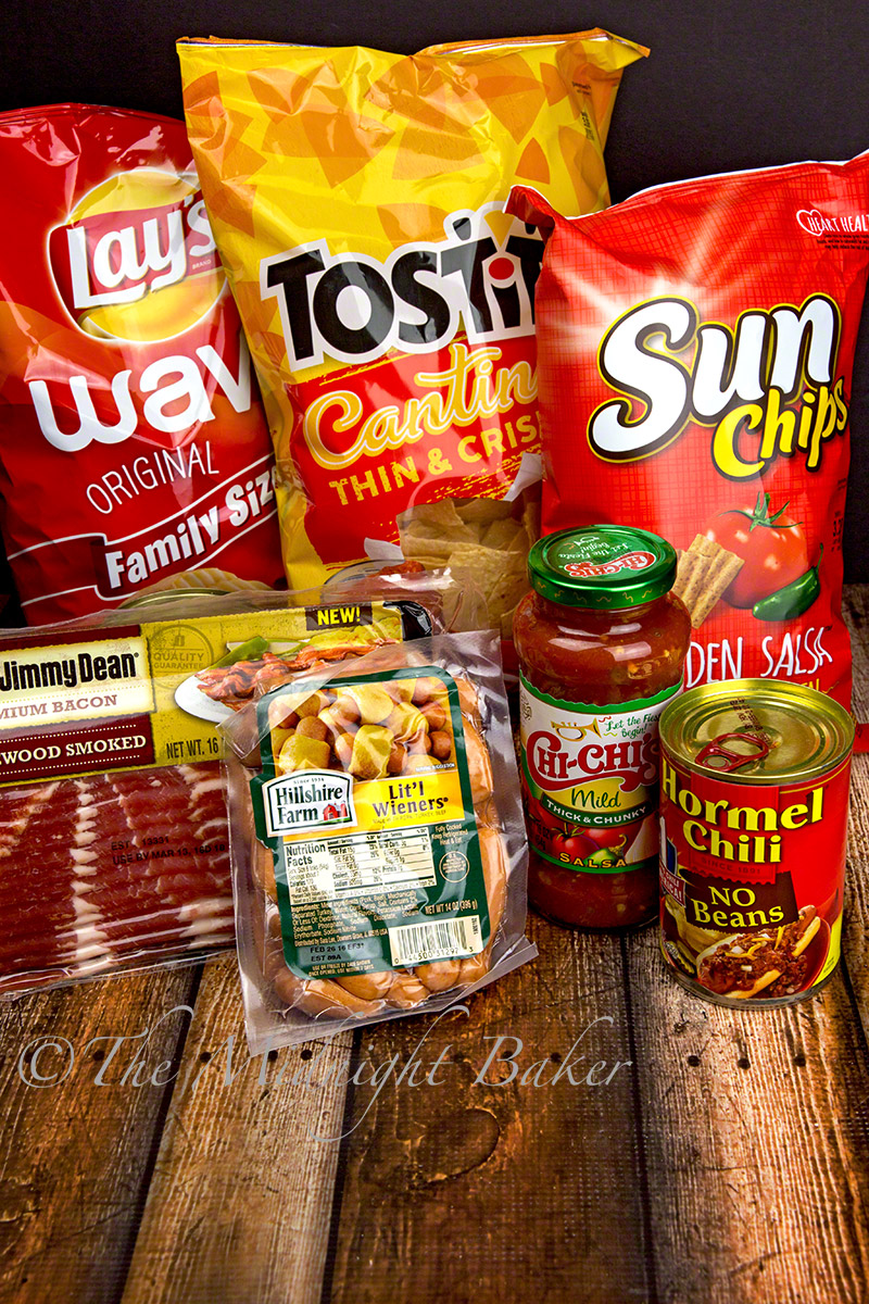 game snacks - chips, salsa, cocktail weiners, Hormel chili