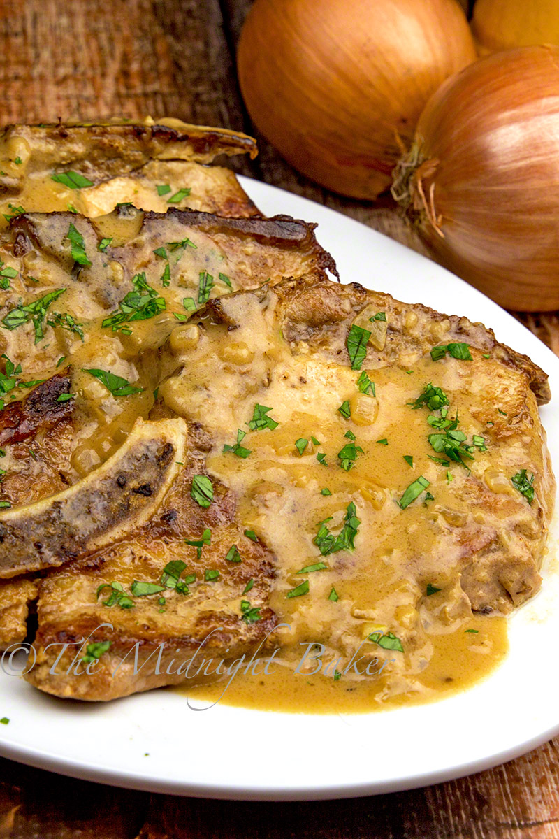 Herb-Braised Pork Chops with Creamy Onion Gravy