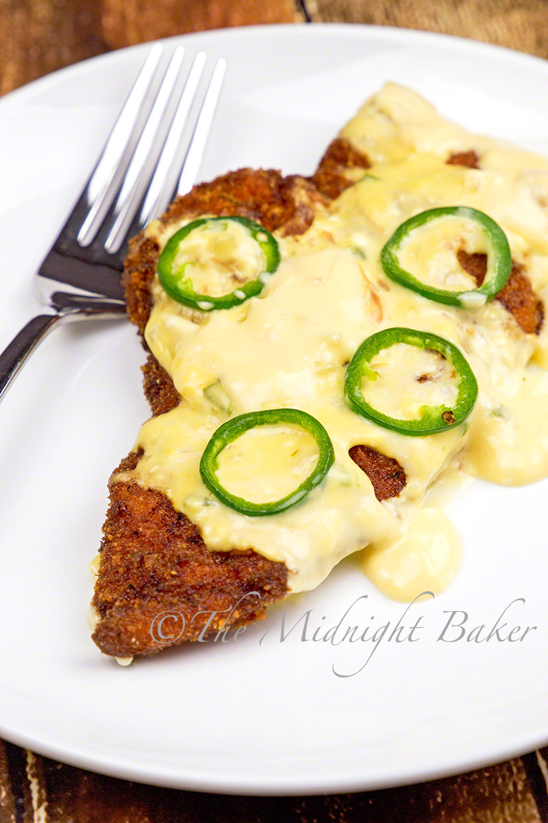 Chicken breast cutlets in a jalapeno cheese sauce. A must for the dip lovers!