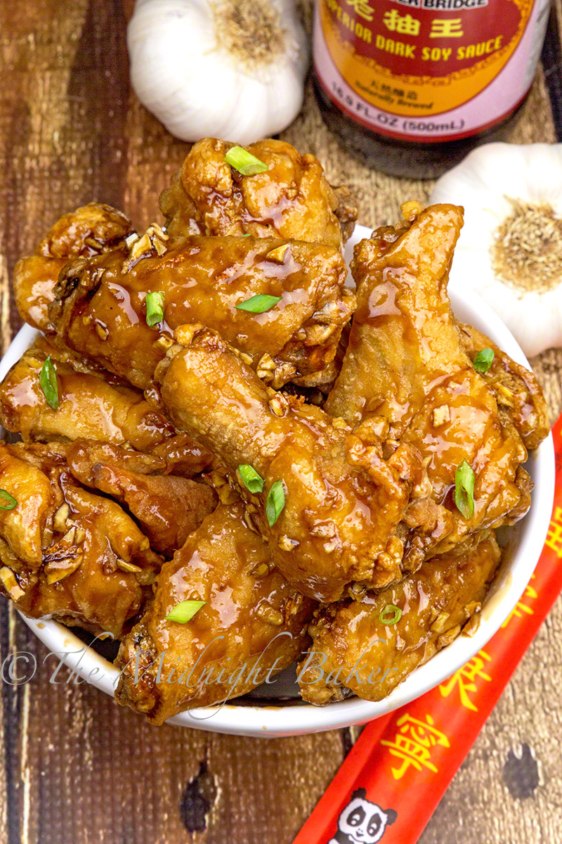 Wings coated with a sauce to die for. A garlic lover's dream!