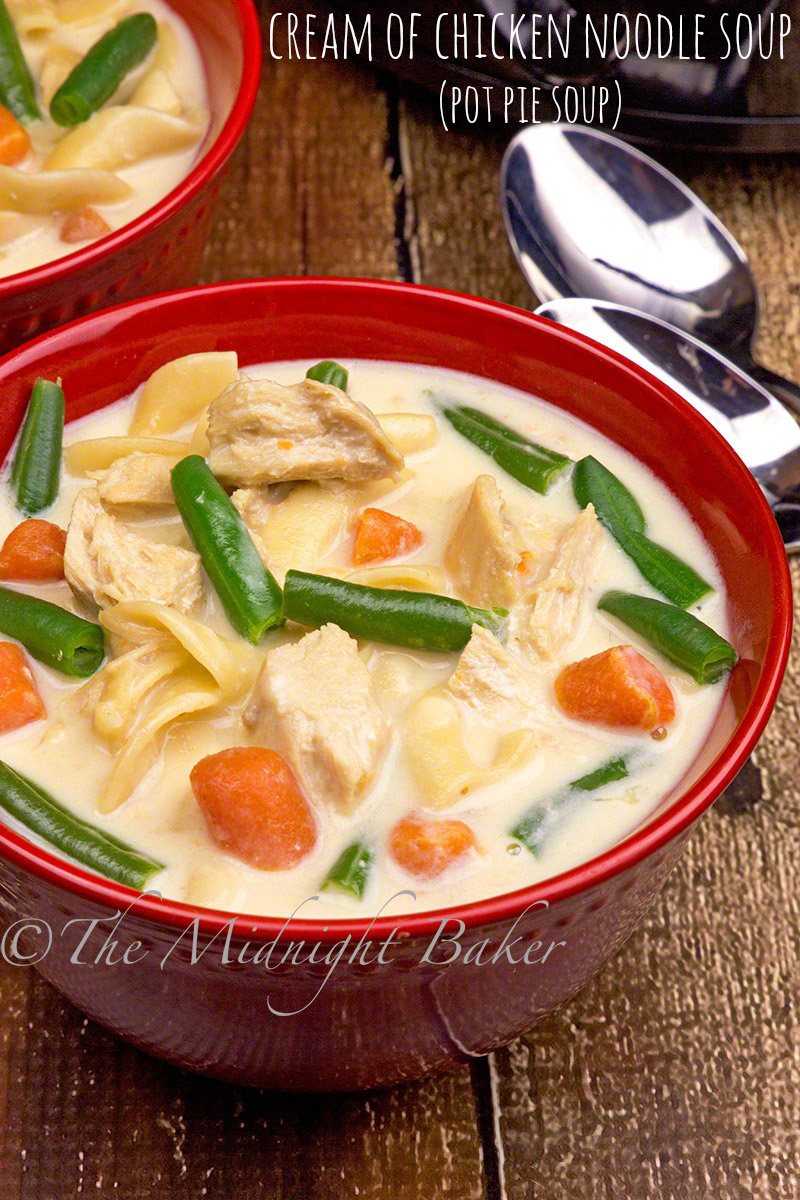 This cream of chicken noodle soup is loaded with veggies and noodles--just like a pot pie without the crust!