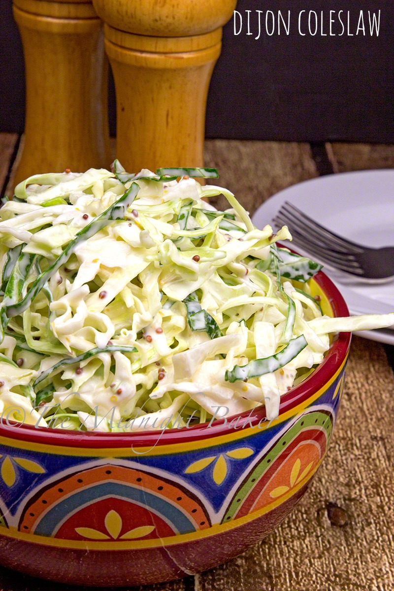 A more gourmet coleslaw that uses whole-grain dijon mustard.
