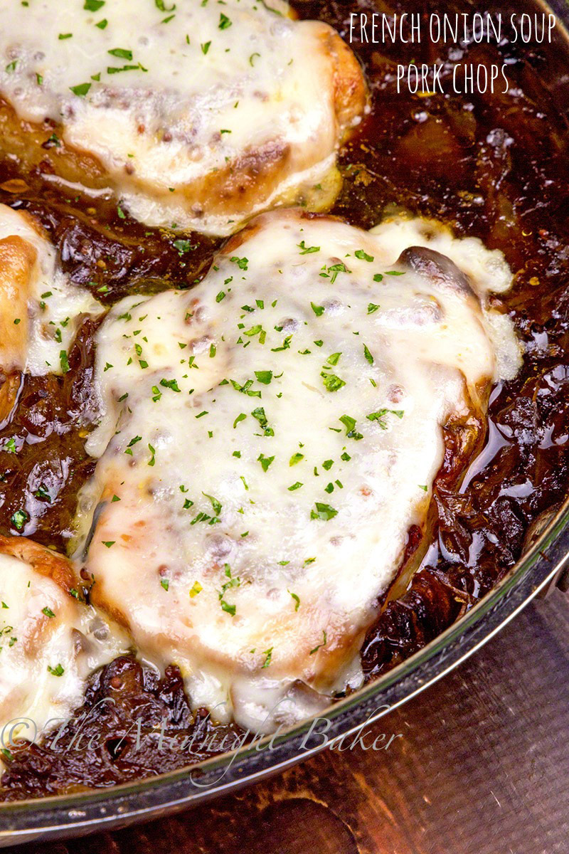 Cheese topped pork chops nestled in French onion soup sauce.