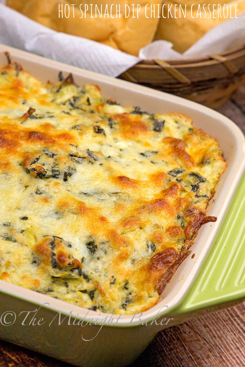 Hot Spinach Dip Chicken Casserole - The Midnight Baker