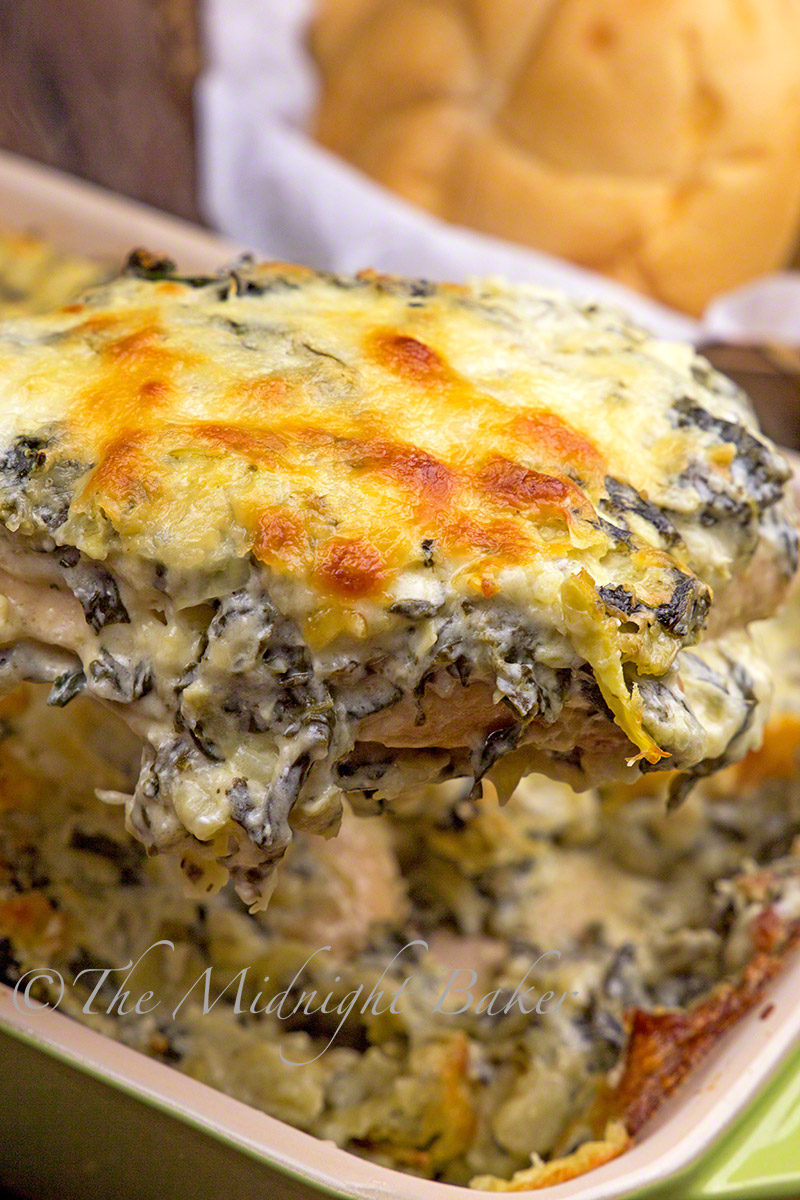 Juicy chicken breast cooked in a sauce like hot spinach dip!