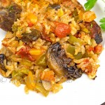 Pork Chops with Loaded Vegetable Rice