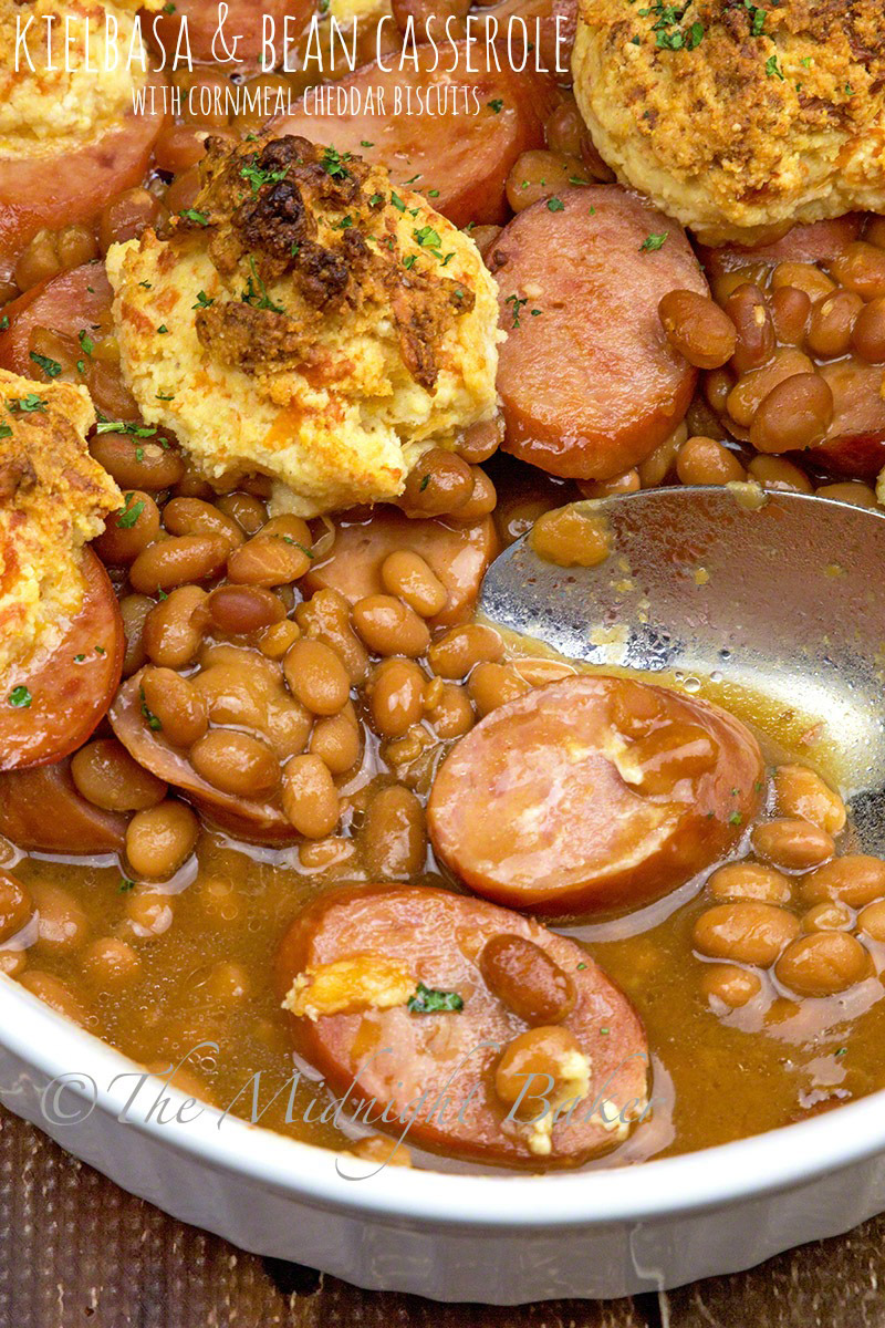 Jazzed up beans and tasty kielbasa form the base and topped off with delicious cheddary biscuits