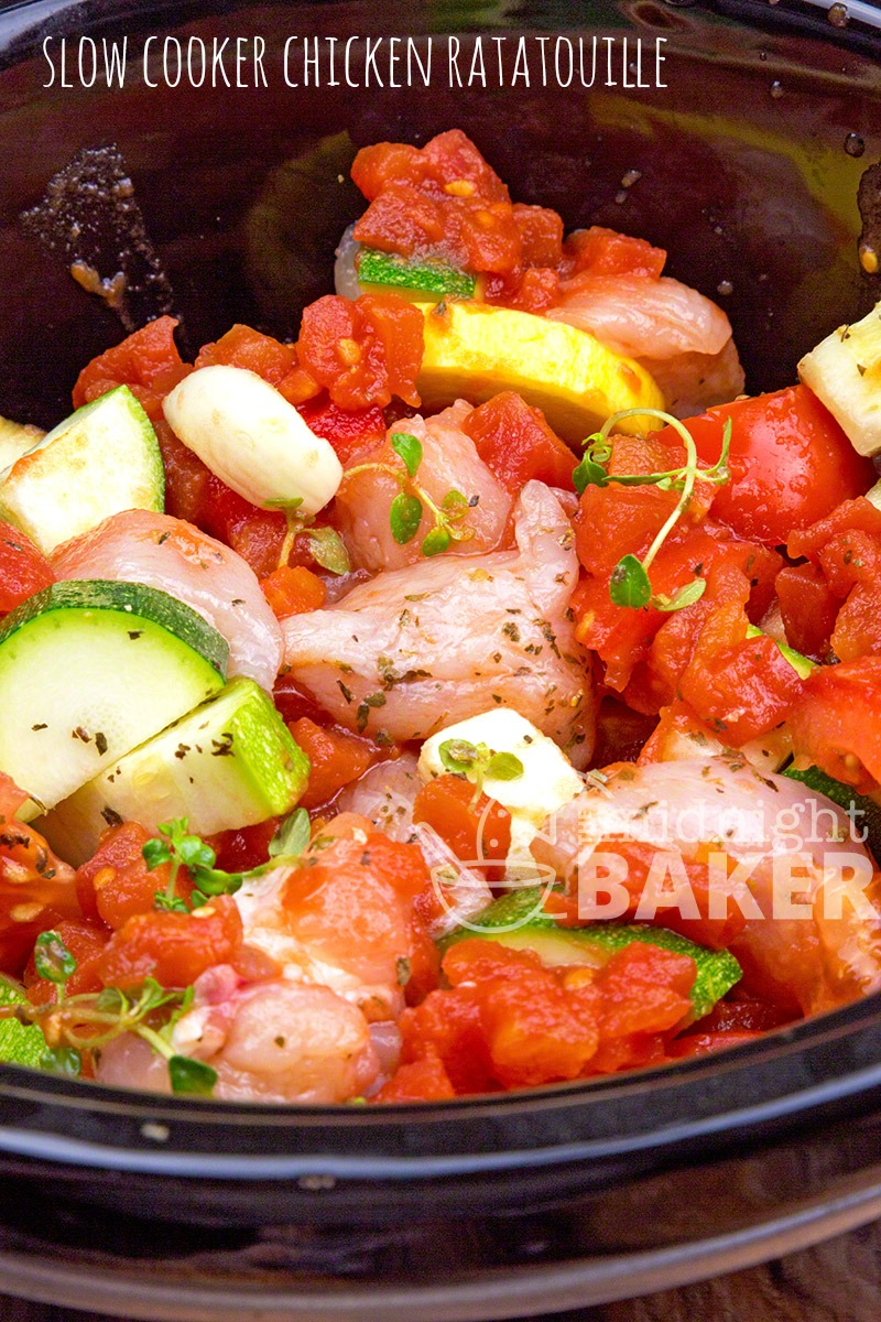 Just add chicken and fresh garden veggies to your slow cooker and voila--a chicken version of ratatoulle. Healthy and delicious.