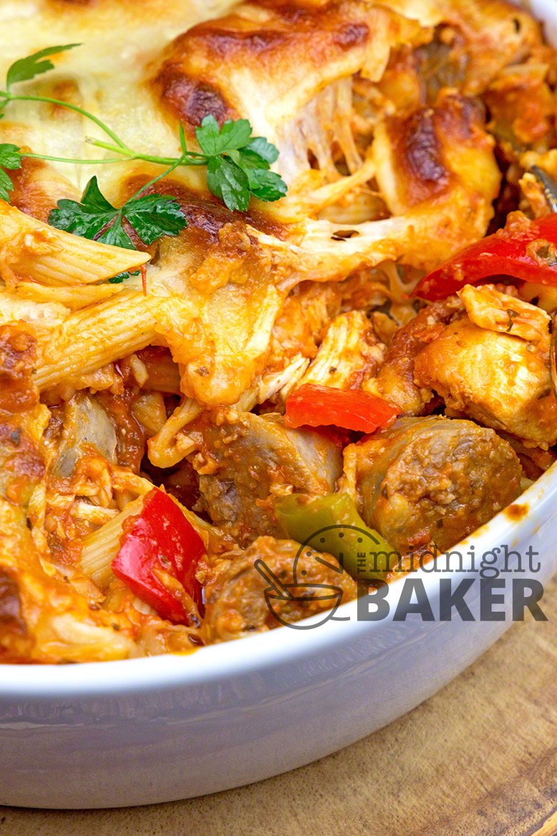 Casserole chock full of Italian goodness--pasta, sauce, chicken, sausage, veggies and tons of cheese.