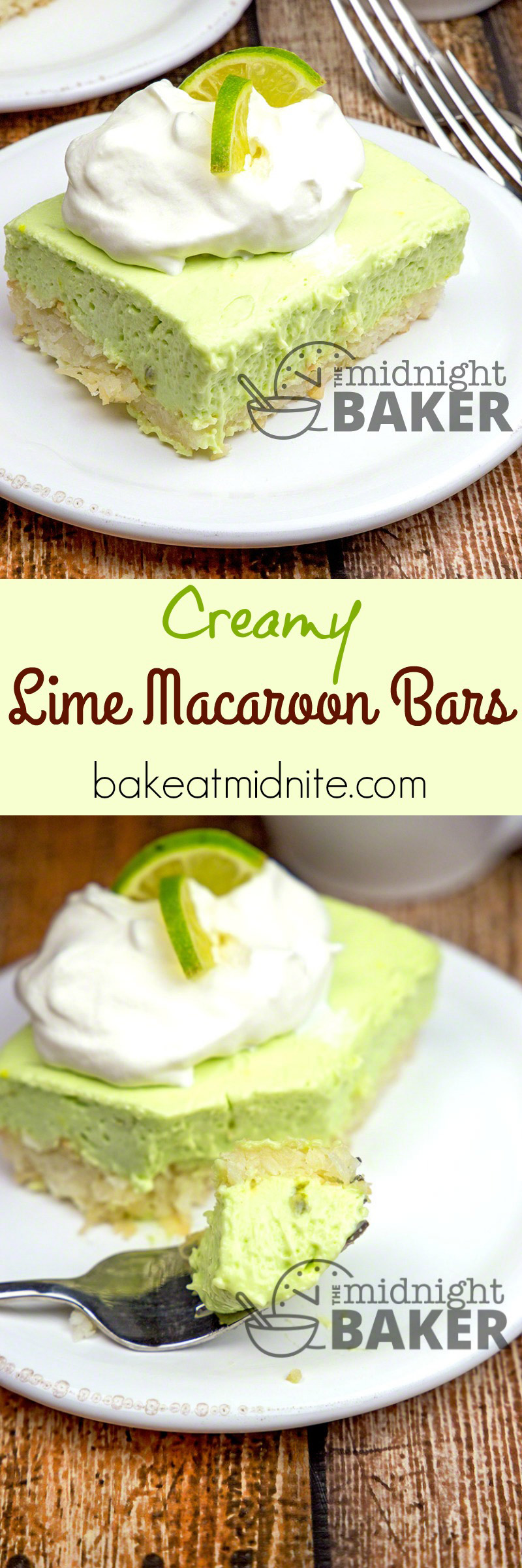 Slightly tart creamy lime filling sits on top of a coconut macaroon crust. Very refreshing dessert that's different!