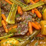 Pot roast in foil is the easiest dinner ever! Meat and veggies cook in the same pouch and gravy makes itself!