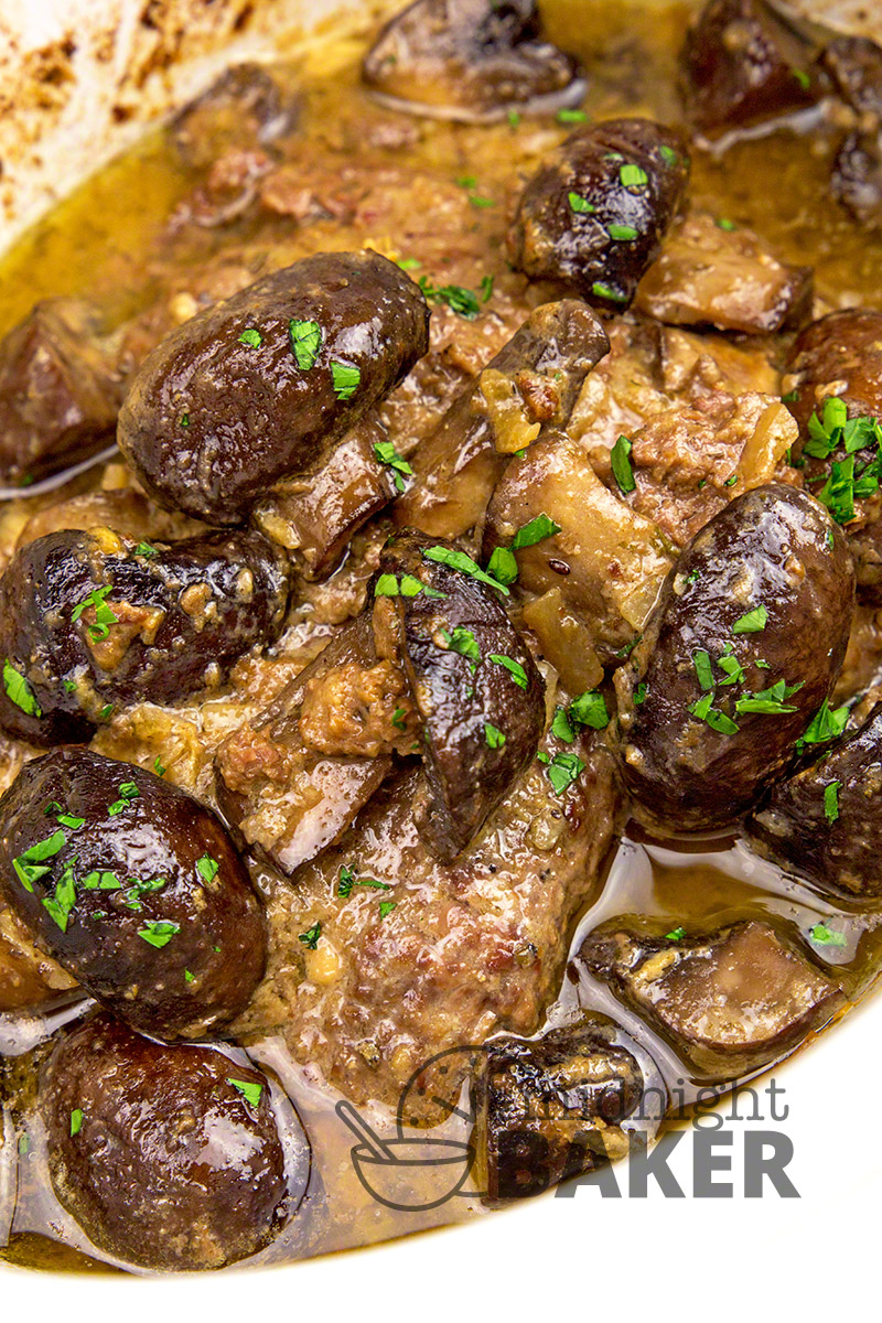 Cube steaks, buttered mushrooms and a few simple seasonings produce this awesome dinner in your slow cooker.