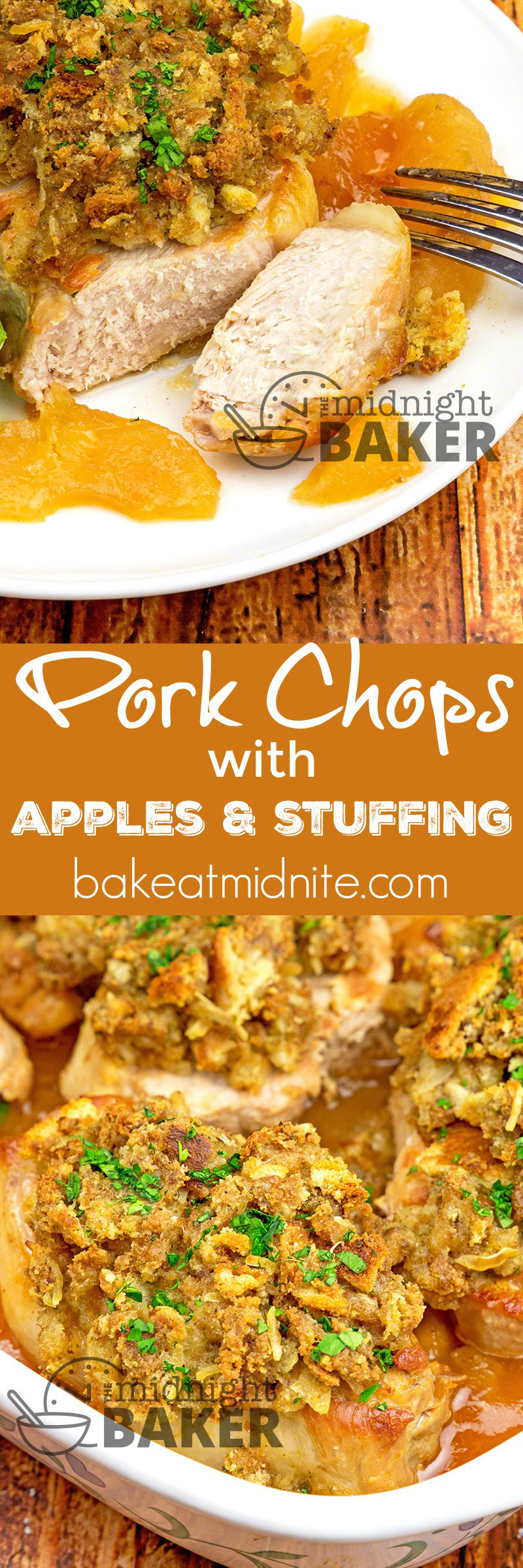 Pork Chops with Apples & Stuffing - The Midnight Baker