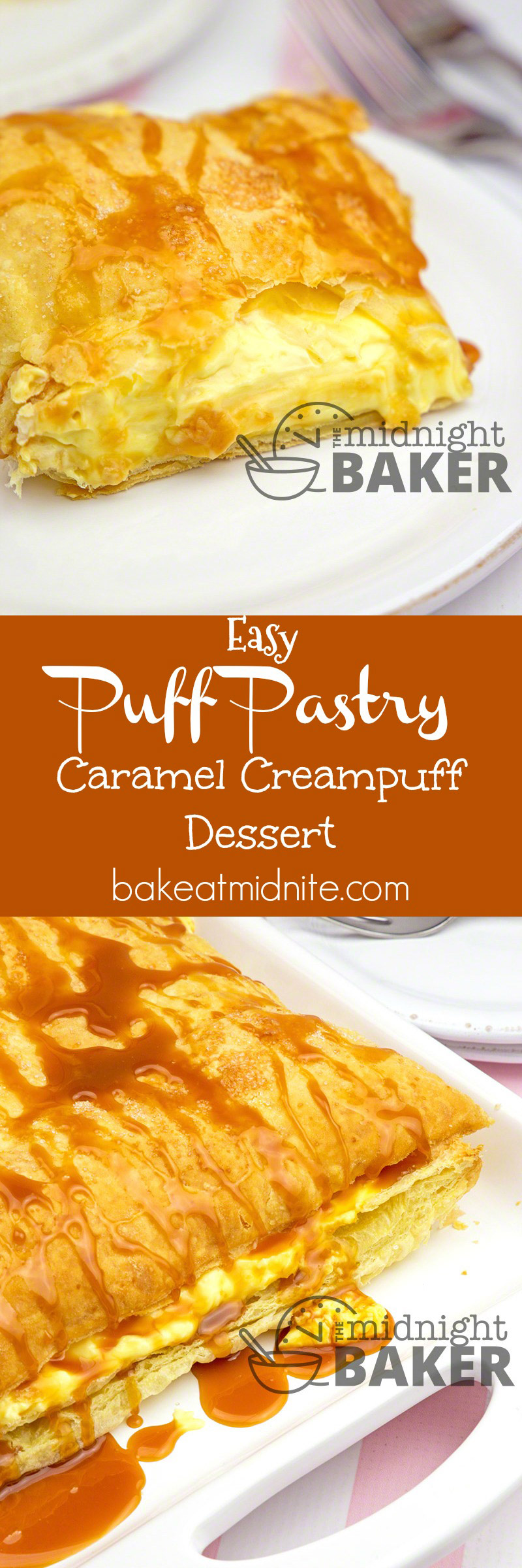 All you need is a frozen puff pastry sheet, vanilla pudding and caramel ice cream sauce to make this delicious, easy and quickie dessert!