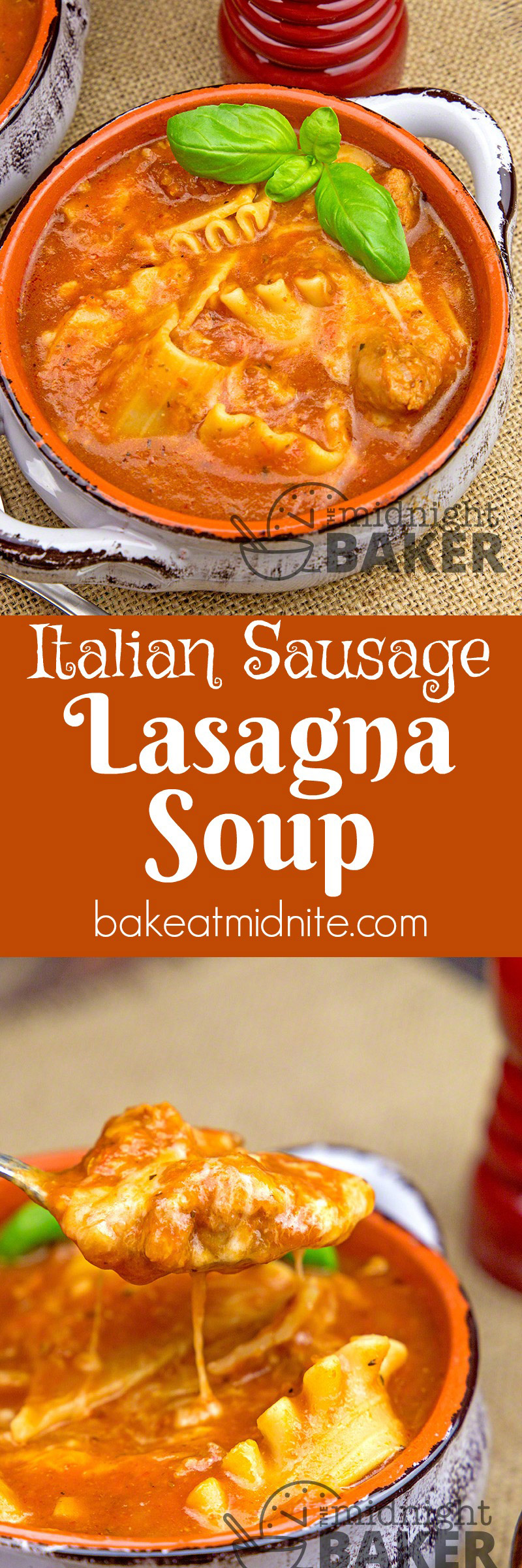 This lasagna soup uses Italian sausage rather than ground beef so it's extra tasty!